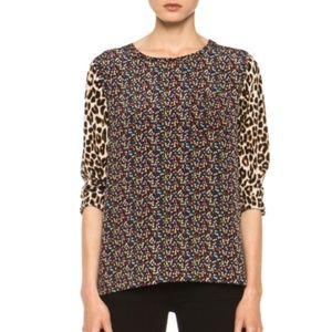 Equipment Floral Cheetah Liam Silk Blouse Large